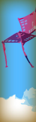 This was originally a red, metal chair that is perched upon a tall, blue wooden post at the park. I flattened the image to use fewer colors and threw in the brownish aura. And I got rid of the post, so now it's a flying chair.