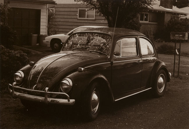 A random Volkswagen Beetle photo that was developed with sepia tone