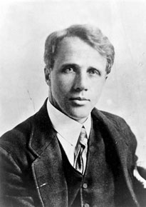 Robert Frost, head-and-shoulders portrait, facing front. He is about forty years old and is wearing a suit.