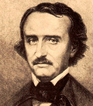 An image of Edgar Allan Poe looking straight ahead disinterestedly.